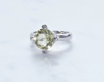 Peridot Engagement Ring set in Sterling Silver