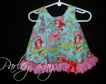 Parley Ray Modern Strawberry Shortcake Birthday Pinafore Dress with Ruffled Baby Bloomers / Ruffle Diaper Cover