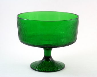 Green Glass Pedastal Bowl by Hoosier Glass #4032