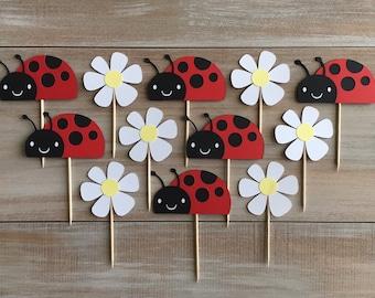 Ladybug Cupcake Toppers. Ladybug Birthday Party.