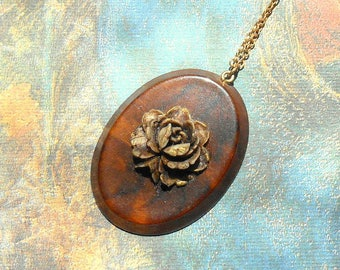 Vintage Lucite Cabbage Rose Cameo Necklace - Brown Rose, Faux Wood, Sepia Flower, Gold Chain, Bohemian, Hippie, Beatnick, Nature, Peace
