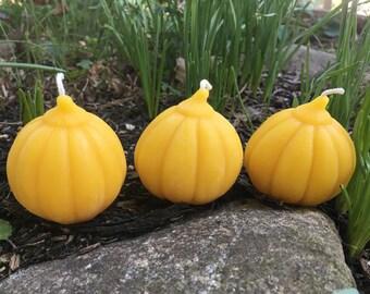 """Pumpkin Beeswax Candles - Set of 3, each 2.25"""" wide"""