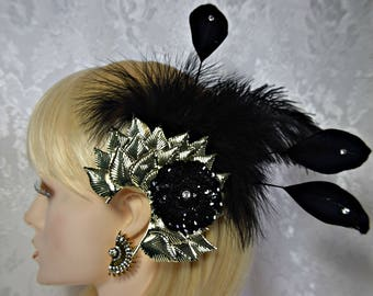 GATSBY HEADPIECE EARRINGS Art Deco 1920s roaring 20s Black Feather headpiece Black feather fascinator hair clip  gatsby wedding accessories