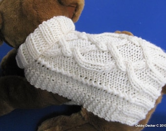 Dog Sweater Knitting Pattern EASY PDF Aran Pretzel Twist design Downloadable