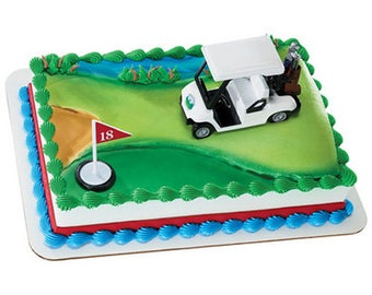 Golf Cart 18th Hole Tee Sign 2 pieceCake Kit Cake Toppers Decorations Party