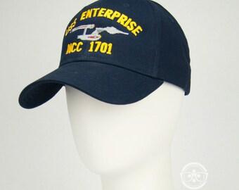 Star Trek Hat - TOS The Original Series - USS Enterprise 1701 - Embroidered Geeky Baseball Cap - Naval Hat Inspired