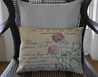 Lilac Burlap Pillow, Farmhouse Pillows, Shabby Chic 47, Spring Pillow, Mother's Day Gift,  INSERT INCLUDED