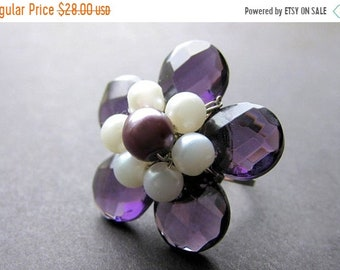 MOTHERS DAY SALE Purple Crystal Flower Ring with Pearls. Handmade Jewelry by Gilliauna