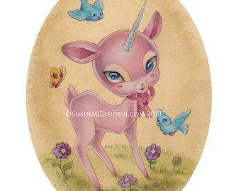 Penelope LIMITED EDITION print signed numbered Simona Candini lowbrow pop surreal big eyes art pink baby unicorn deer