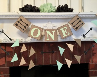 Woodland Birthday decorations - tribal 1st birthday banner - Tribal one banner - Hunting high chair banner  - your color choices