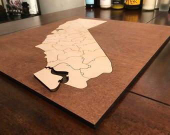 State Puzzle | Coffee Table Puzzle | Unique Wooden Puzzle Gift | Wall Art