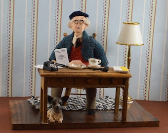 Jean Piaget- Diorama Art- Miniature Size-Child Psychology- Piaget Doll- Gift for Psychologist