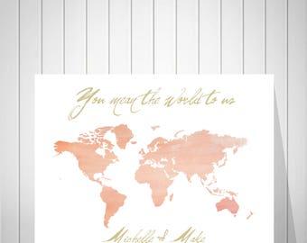 Custom World Map | Guest Book Alternative | Engagement Gift | Guest Book Wedding | Personalized Map | Wedding Guest Book | Canvas Art -37077