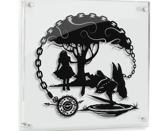 Alice in Wonderland White Rabbit I'm Late Storybook Fairy Tale Papercut Follow The Lewis Carroll Fantasy Art Disney Home Decor FRAMED