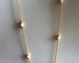 Coral pearl golden necklace/bracelet