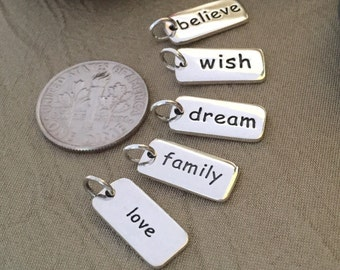 Sterling Silver Charm - Charm ONLY - Blessed Charm - Wish Charm - Believe Charm - Love Charm - Family Charm Necklace Gift for her