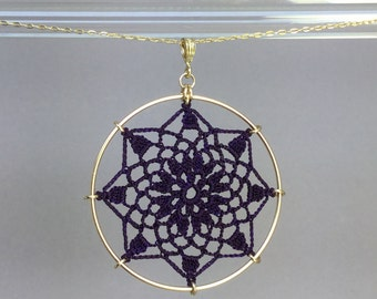 Mandala doily necklace, purple hand-dyed silk thread, 14K gold-filled