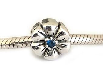 Daisy Flower Sterling Silver Cz Large Hole Bead for Bracelets