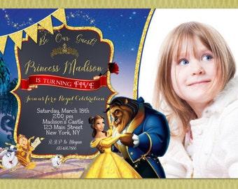 Beauty and the Beast Birthday Invitation - Princess Belle Party Invitation - Beauty and the Beast Birthday Invite