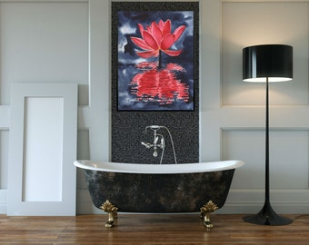 Red Lotus Flower Water Reflections Fine Art Print Original Watercolor Floral FRAMEABLE ART Giclee Wedding Mother's Day Gift Collectable