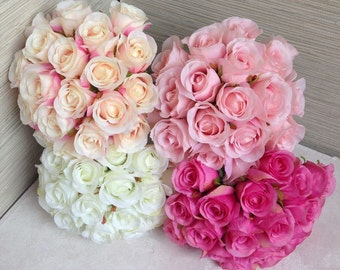 Silk Rose Bouquet For Bridesmaids, Artificial Flower Bouquets, Rose Buds Bouquet White, Champagne, Bridesmaids Flower Bouquet DY-20T