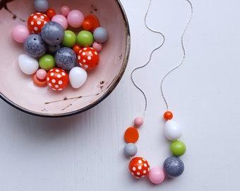 boardwalk necklace - vintage lucite - beach colors - summer, polka dots, orange, pink