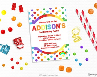 Personalized Printable Rainbow Invitation, Polka Dots - Invite and Favor Tag or Printable Party for Birthdays or Rainbow Themed Parties