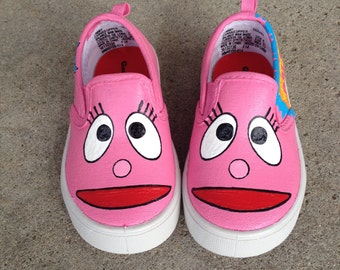 Yo Gabba Gabba (Foofa) Inspired Special Occasion Hand Painted Shoes