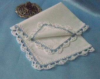 Blue Lace Handkerchief, Crochet Hanky, Hand Crochet, Custom Embroidered, Personalized, Monogrammed, Ready to ship