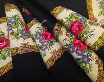 Beautiful Classic Mid Century Wool Scarf Folkloric Floral Illustration from Switzerland