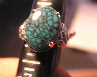CLOSE OUT SALE SpiderwebTurquoise Ring In Sterling Silver