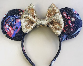 Avengers Mickey Minnie Mouse Ears Headband, Captain America, Iron Man, Hulk, Super Hero, Marvel