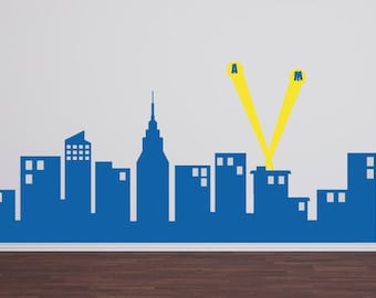 "Super Hero City Skyline, Boy Wall Decal, Super Hero Wall Decal, Super Hero Boy Bedroom, 60"" wide Skyline"