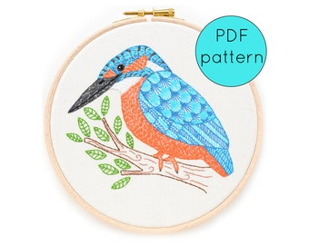 Bird Embroidery Pattern PDF Download, Kingfisher Embroidered Hoop Art Pattern