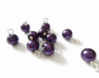 Dark Purple Glass Pearl Dangle Beads