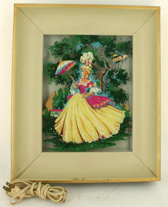 Vintage Lighted Shadowbox Wall Art Reverse Painted Glass