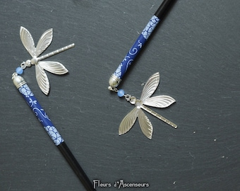 Blue Hair stick with dragonfly ARLEQUIN