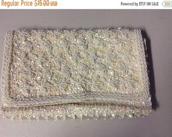 ON SALE Bon Soir Clutch Purse Ivory Beaded  Bridal or Evening Clutch Purse Vintage from the 1960's