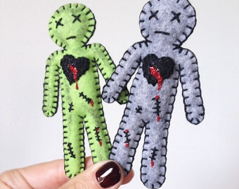 Voodoo Doll, zombie Doll, creepy cute doll, Walking dead zombie doll, neon green, bloody, gift under 30, hand sewn doll, HibouDesigns OOAK