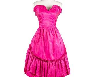 Vintage 1950s Vibrant Pink Party Dress