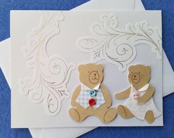 Teddy Bear Couple - Handmade Wedding Card, engagement card, anniversary card, greeting card blank card