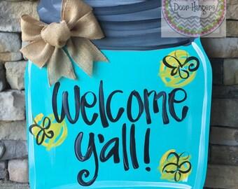 Mason Jar door hanger, summer door hanger, summer wreath, southern door hanger, door hangers