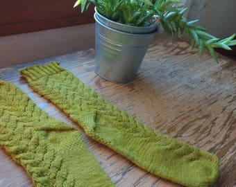 Handknit Wool Socks Sage Green Lace Women's medium 7 8