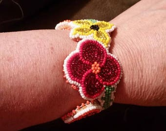 Beaded Floral Cuff