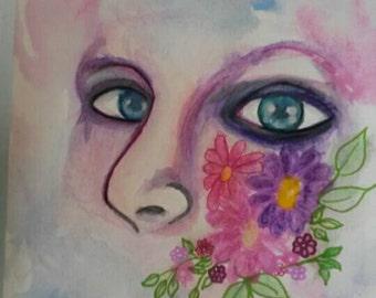 "9""x12"" original watercolor painting ""Introvert"""
