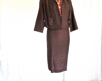 M L 50s Suit Dress 3 pc Wiggle Sheath Shell Top Pencil Skirt & Jacket Brown Floral Pinks Shirt Medium Large