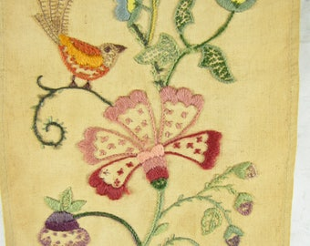 Vintage Bell Pull Floral Bird Crewel Needlework 26 Inches Long Completed  Multi Color