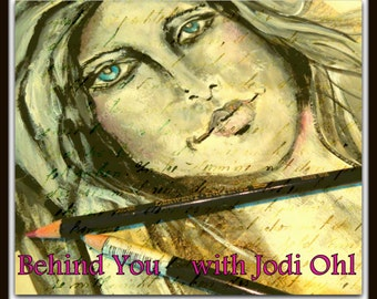 Beginners Face Online Workshop - Behind You Mini Portrait painting class on paper or journal by Jodi Ohl