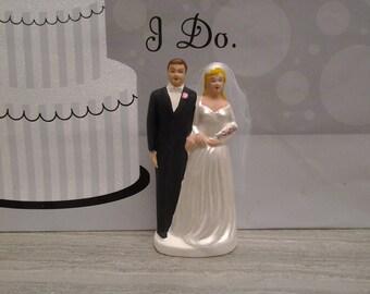Vintage wedding cake topper - bride and groom - wedding figurine - wedding decor - blonde bride - World Creations - chalkware topper