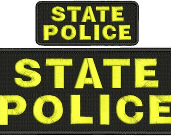 State Police Embroidery Patch 10x4 and 5x2 inches Hook backing yellow letters